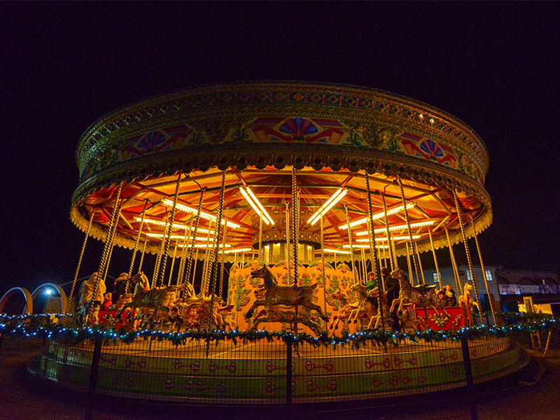 Carousel at Lightwater Valley - lit up for Christmas
