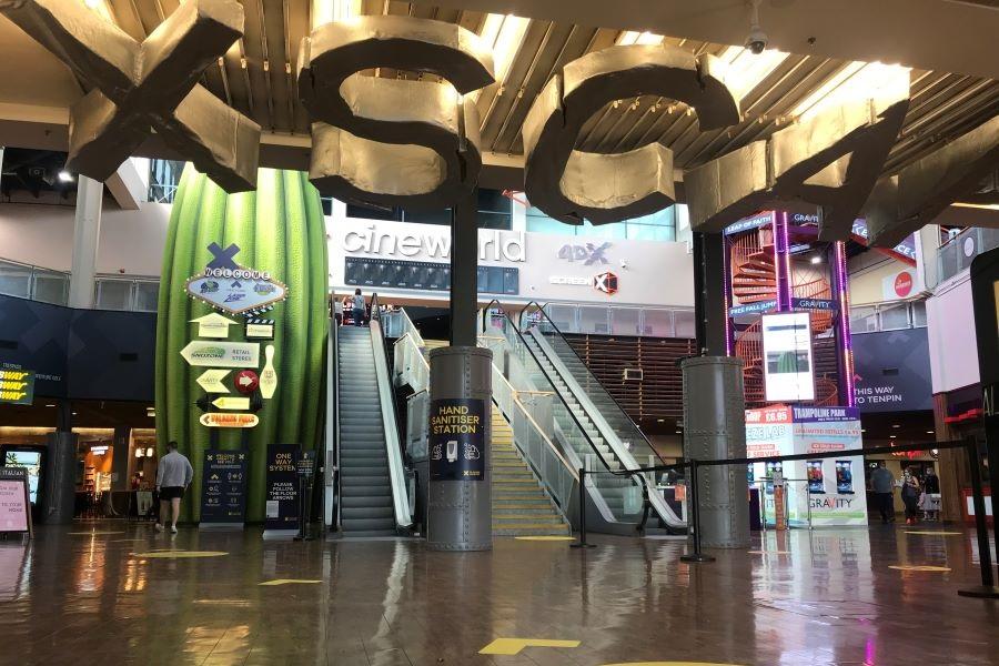 Xscape Yorkshire - Entrance showing social distancing measures