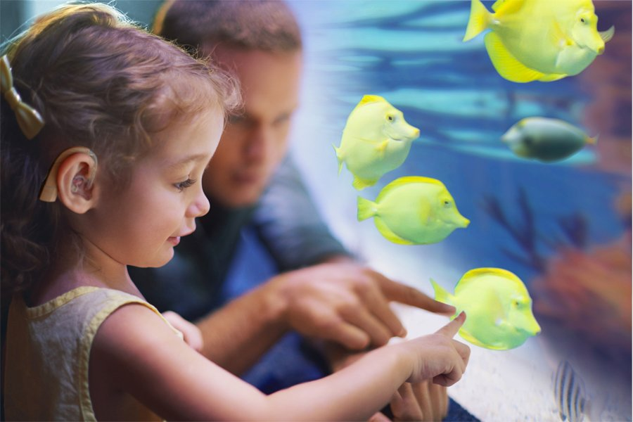 Little girl and her dad at The Deep, pointing at fish in a tank