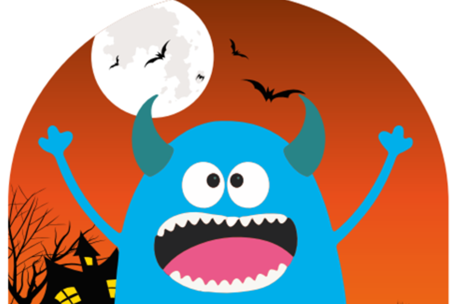 Cartoon image of blue monster standing in front of a haunted house, full moon and bats