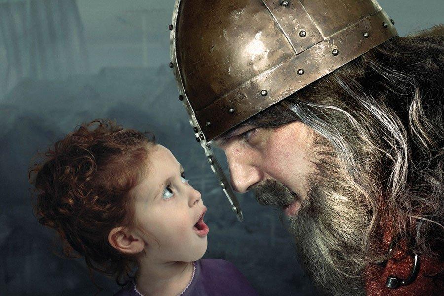 Little girl with Jorvik Viking